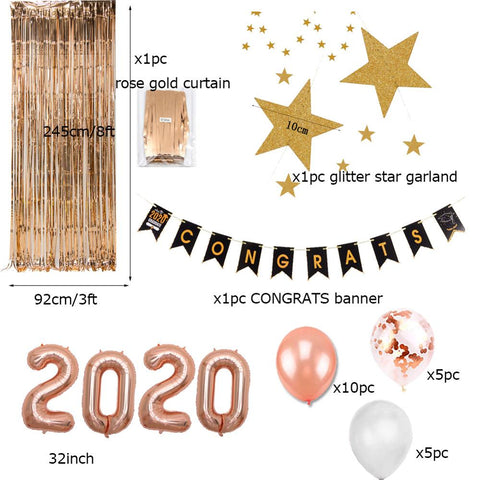 24 Pcs 2020 Rose Gold Graduation Party Decorations For Girls