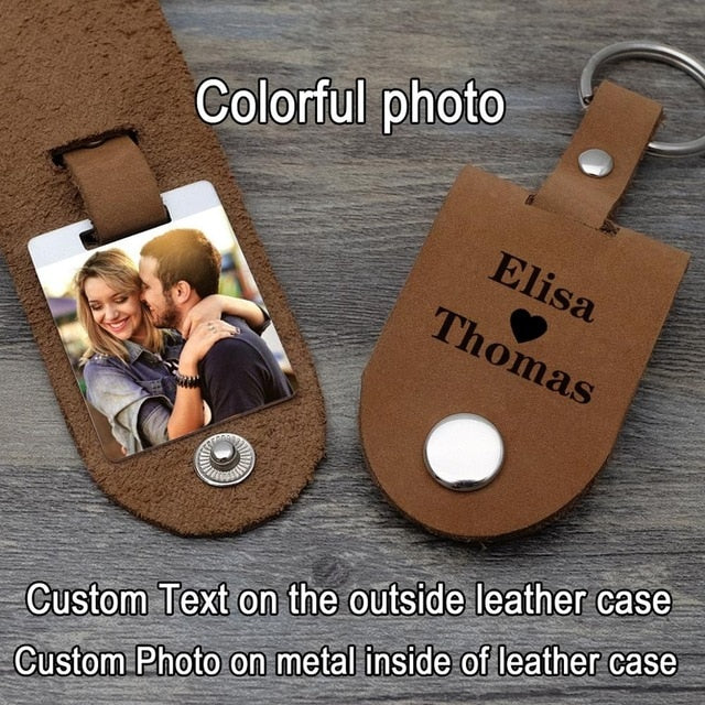 Personalized Photo & Text Leather Keychain
