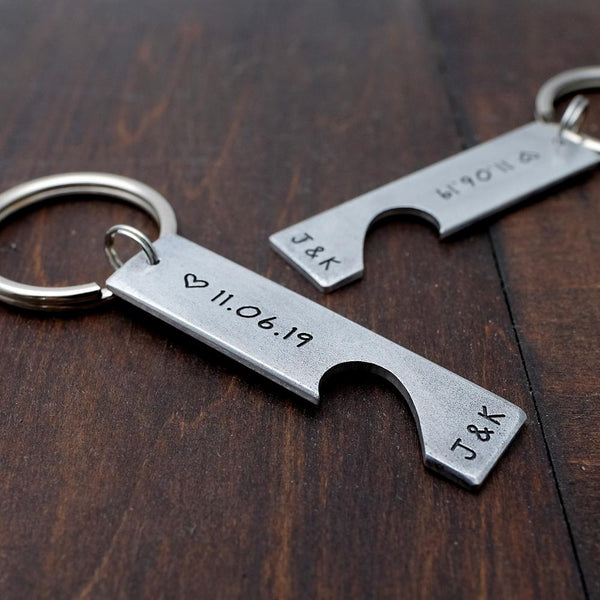 Personalized Initial & Date Couple Puzzle Keychain Set