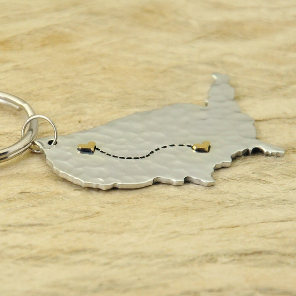 Personalized State To State United States Keychain