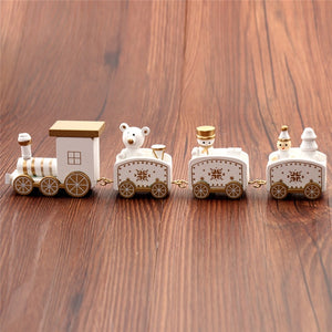 New Christmas Train Painted Wood Christmas Decoration for Home with Santa/bear Xmas kid toys gift ornament navidad new year Gift
