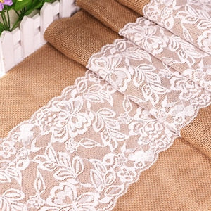 Natural Burlap Table Runner For Wedding Christmas 275cmx30cm Luxury Lace New Year Crochet Jute Linen Table Runners Dining Room