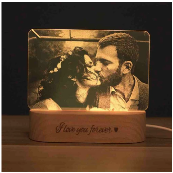 Photo&Text Personalized Crystal Wooden Base Lamp