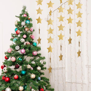 4M Bright Gold Silver Paper Garland Star String Banners Christmas Tree Christmas Decoration