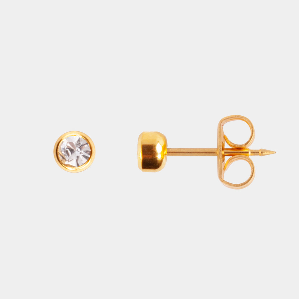 Studex 3mm Cubic Zirconia Bezel 24K Pale Gold Stud