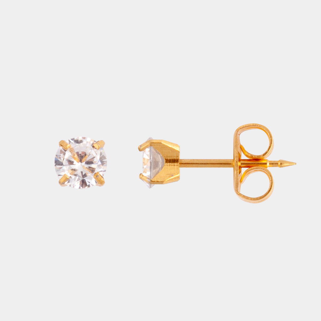 Studex 5mm Cubic Zirconia 24K Pale Gold Stud