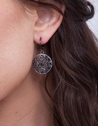Deep Blue Filigree Huggie Hoop Earrings - link has visual effect only