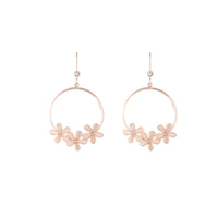 Rose Gold Triple Flower Hoop Drop Earring - link has visual effect only