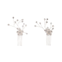 Silver Diamante Floral Comb Duo - link has visual effect only