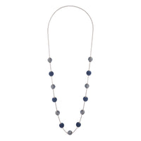 Navy Gunmetal Wrapped Bead Station Necklace - link has visual effect only