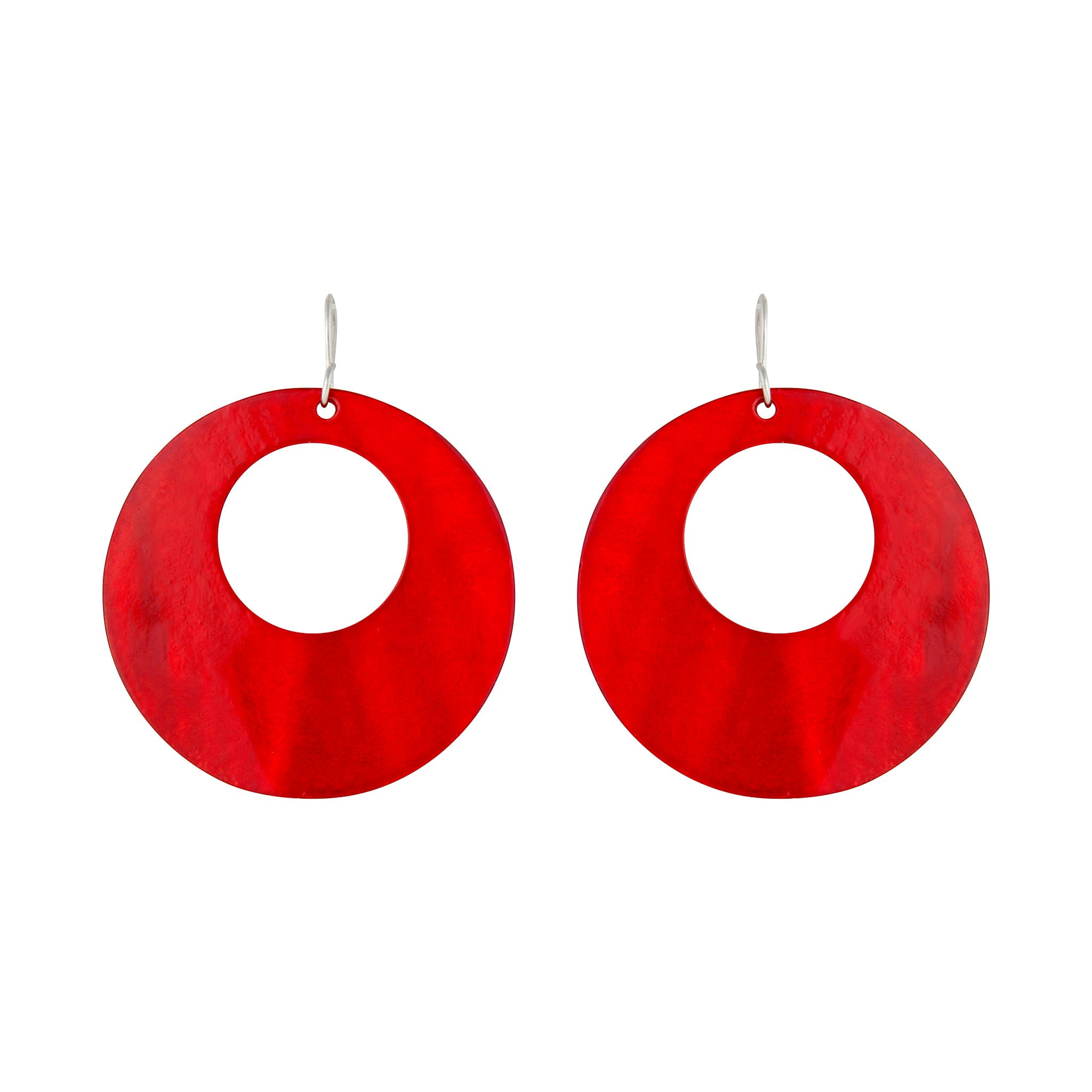 Red Round Polished Shell Earring