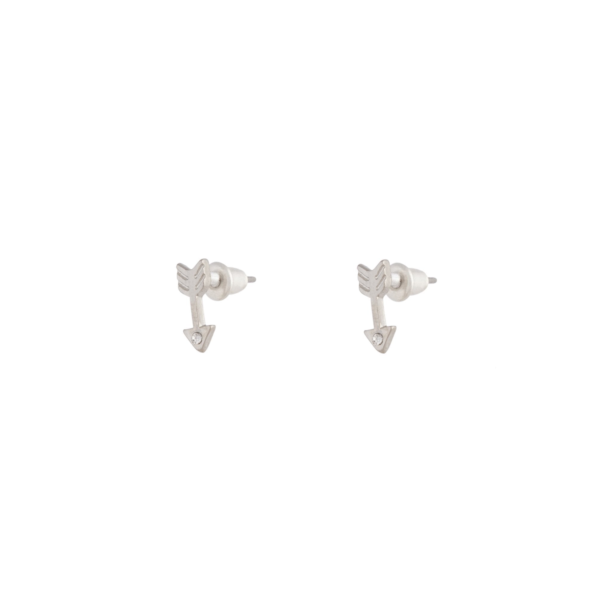 Rhodium Arrow Diamante Stud Earring