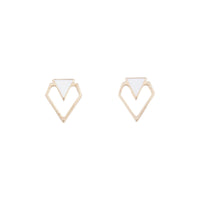 White And Gold Mini Geometric Stud - link has visual effect only