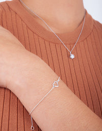 Sterling Silver Cut Out Fine Heart Bracelet - link has visual effect only