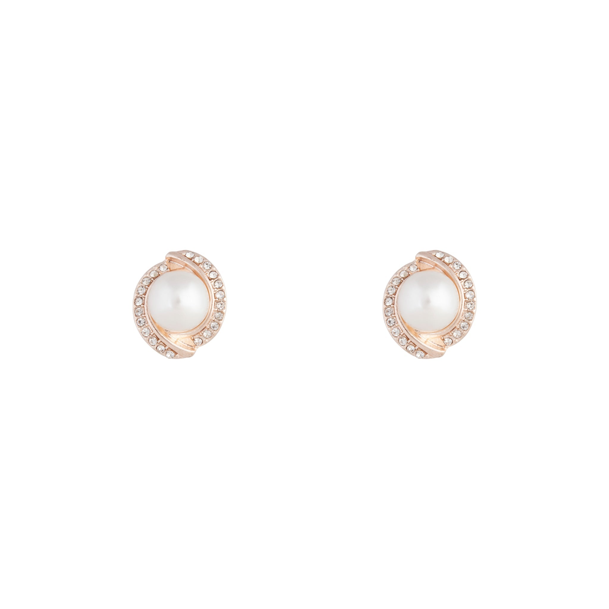 Rose Gold Diamante Pearl Stud Earrings