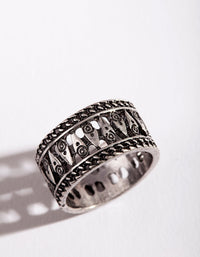Antique Silver Boho Band Ring - link has visual effect only