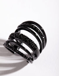 Coated Metal Six Band Diamante Ring - link has visual effect only