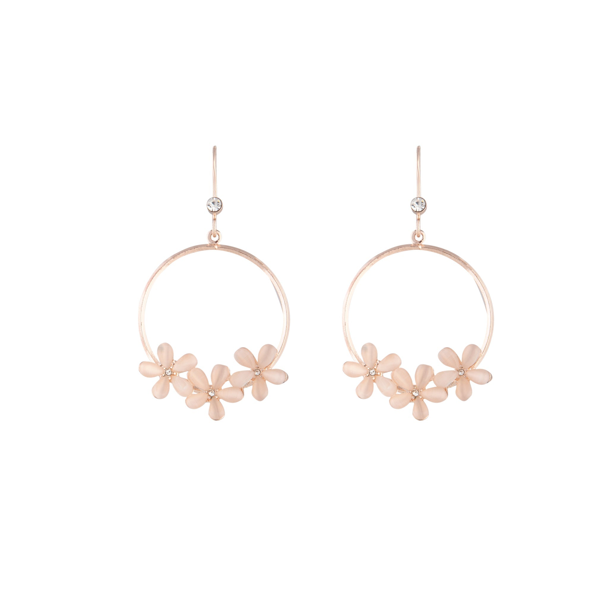 Rose Gold Triple Flower Hoop Drop Earring