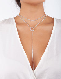 Silver Circle Cup Chain Choker Necklace - link has visual effect only