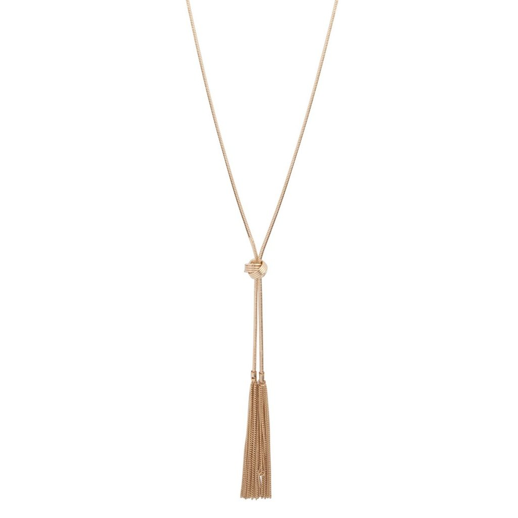 Gold Lariat Knot And Tassel Necklace