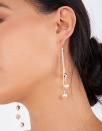 Rose Gold Trio Bead Drop Earring - link has visual effect only
