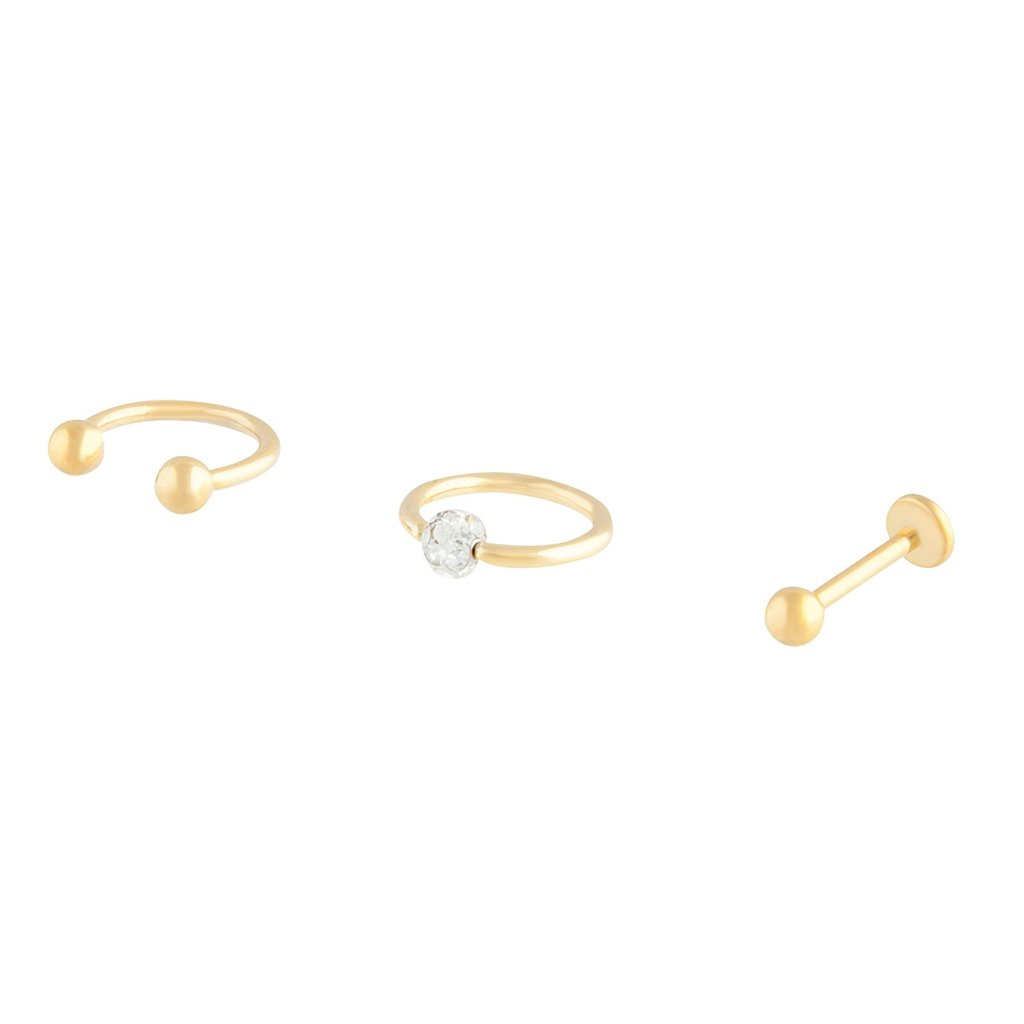 Gold Surgical Steel Hoop Stud Ball 3 Pack