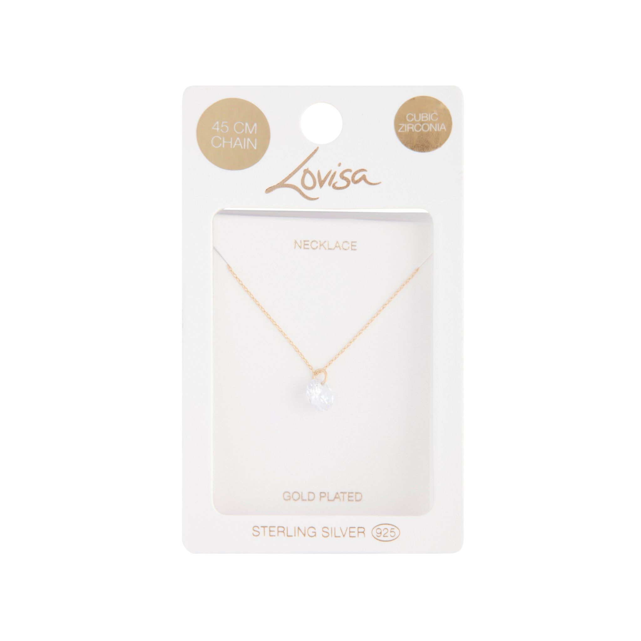 Gold Plated Sterling Silver Cubic Zirconia Carat Pendant Necklace