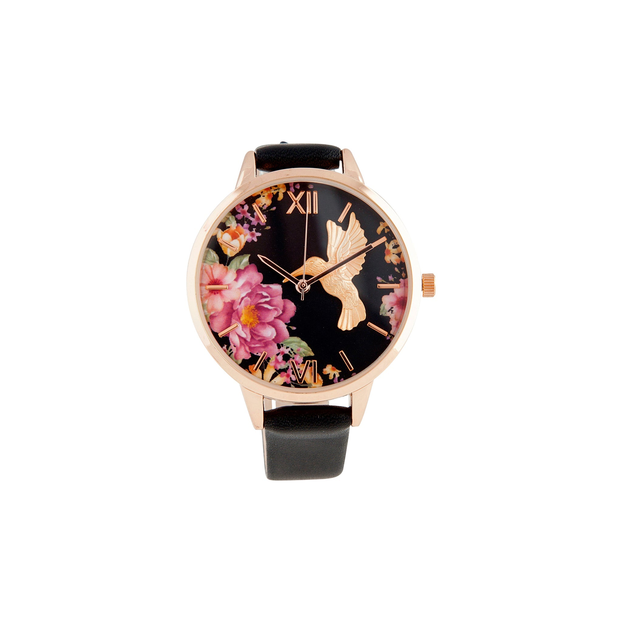 Black Hummingbird PU Strap Watch