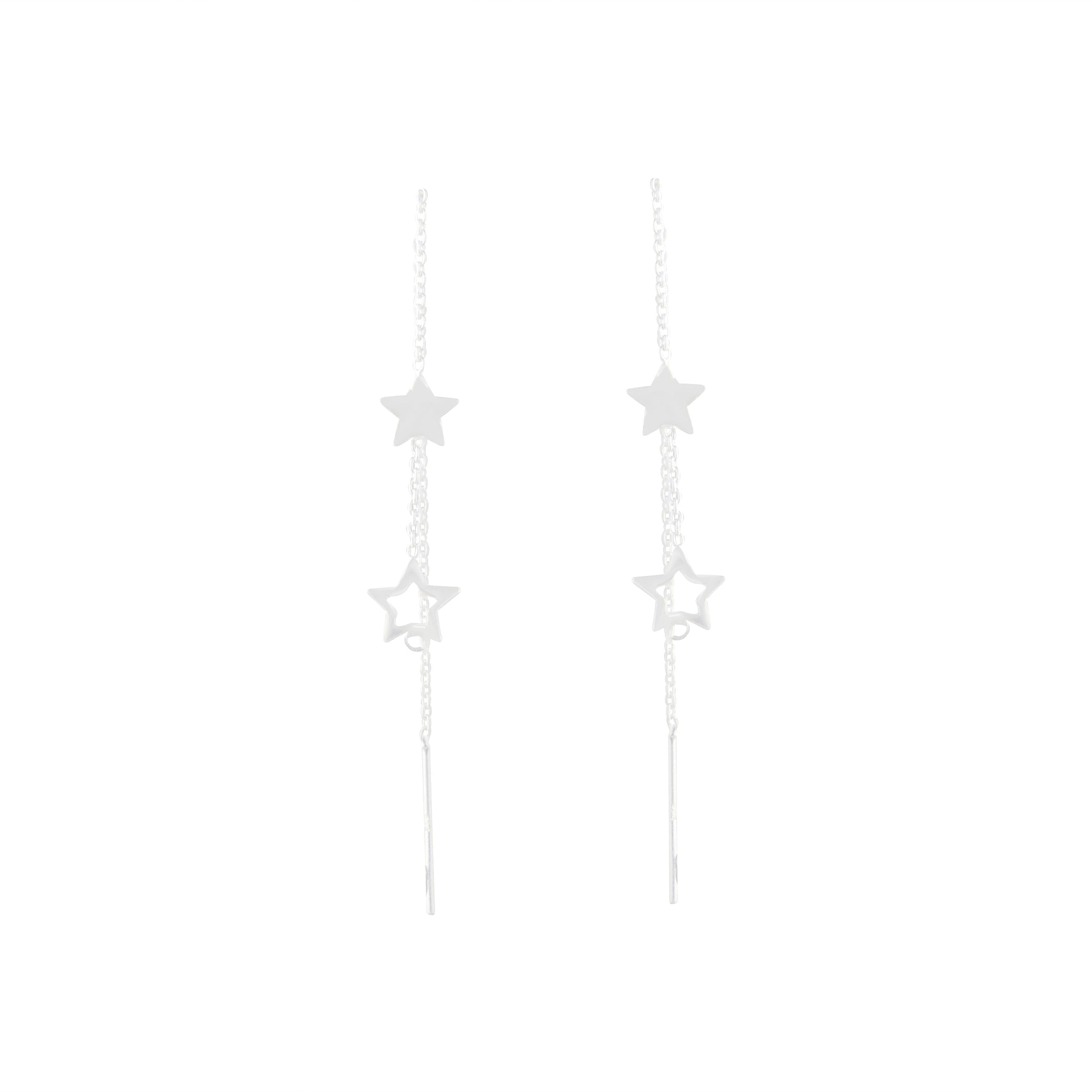 Sterling Silver Star Thread Earring