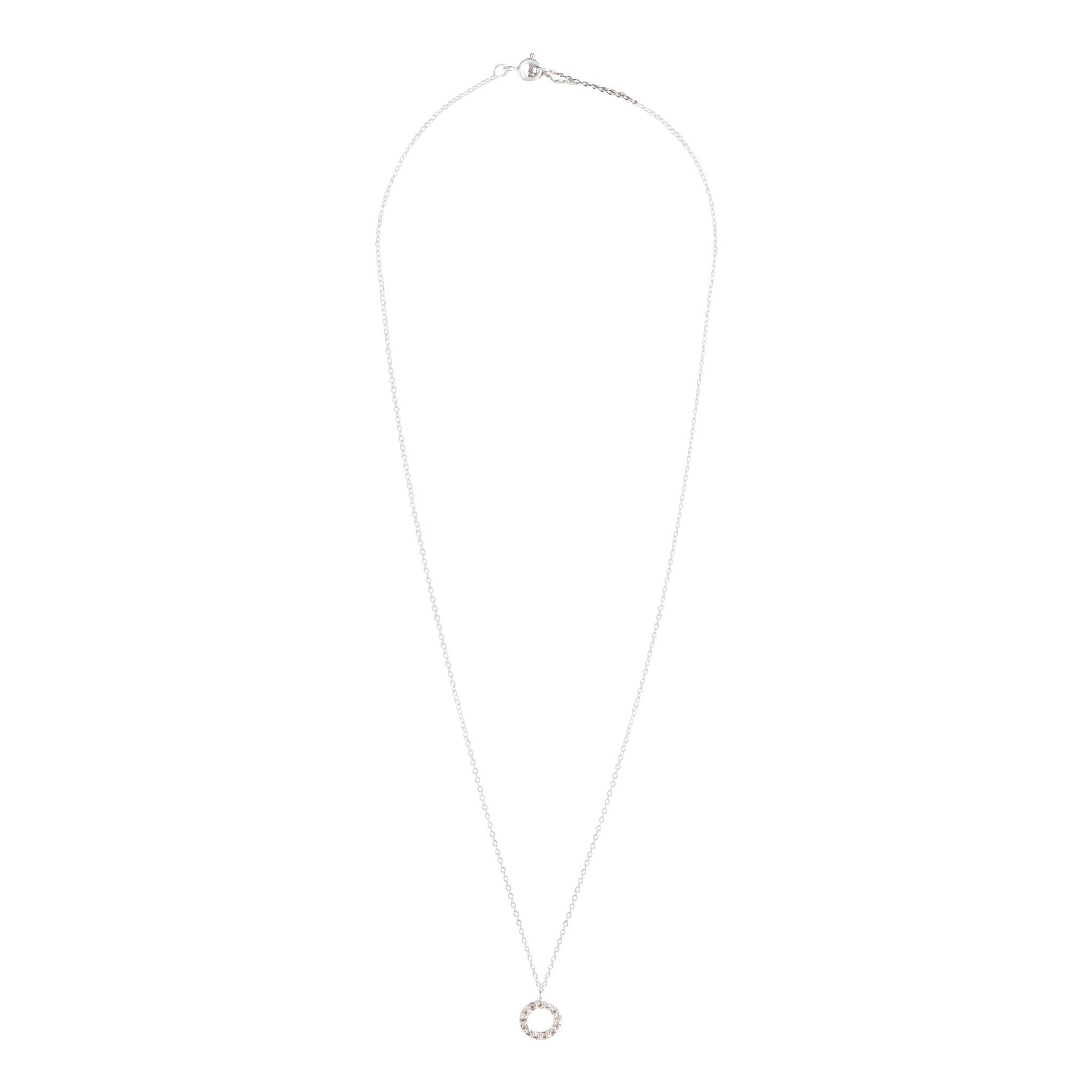 Sterling Silver  Circle Diamante Pendant Necklace