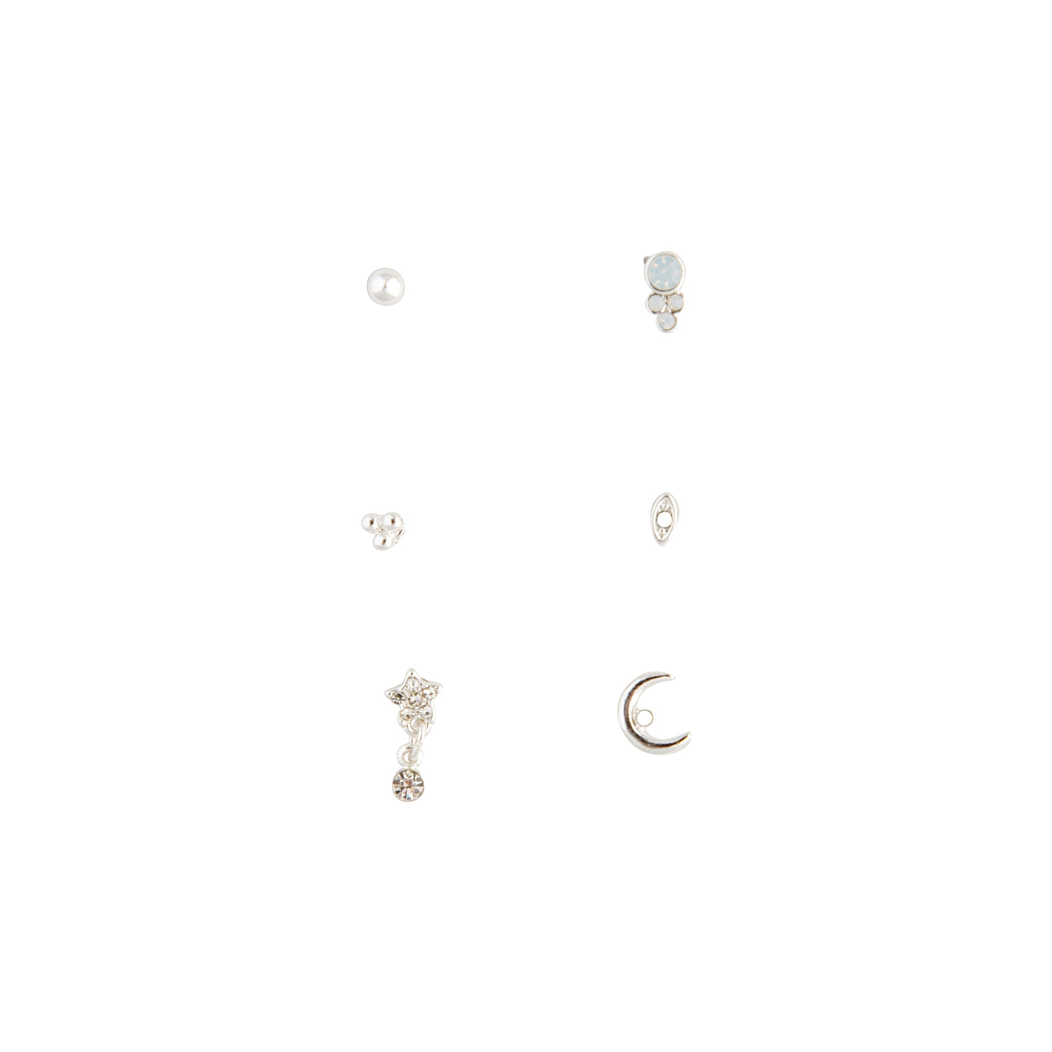 Silver Synthetic Opal Moon Stud Mix Pack Earring