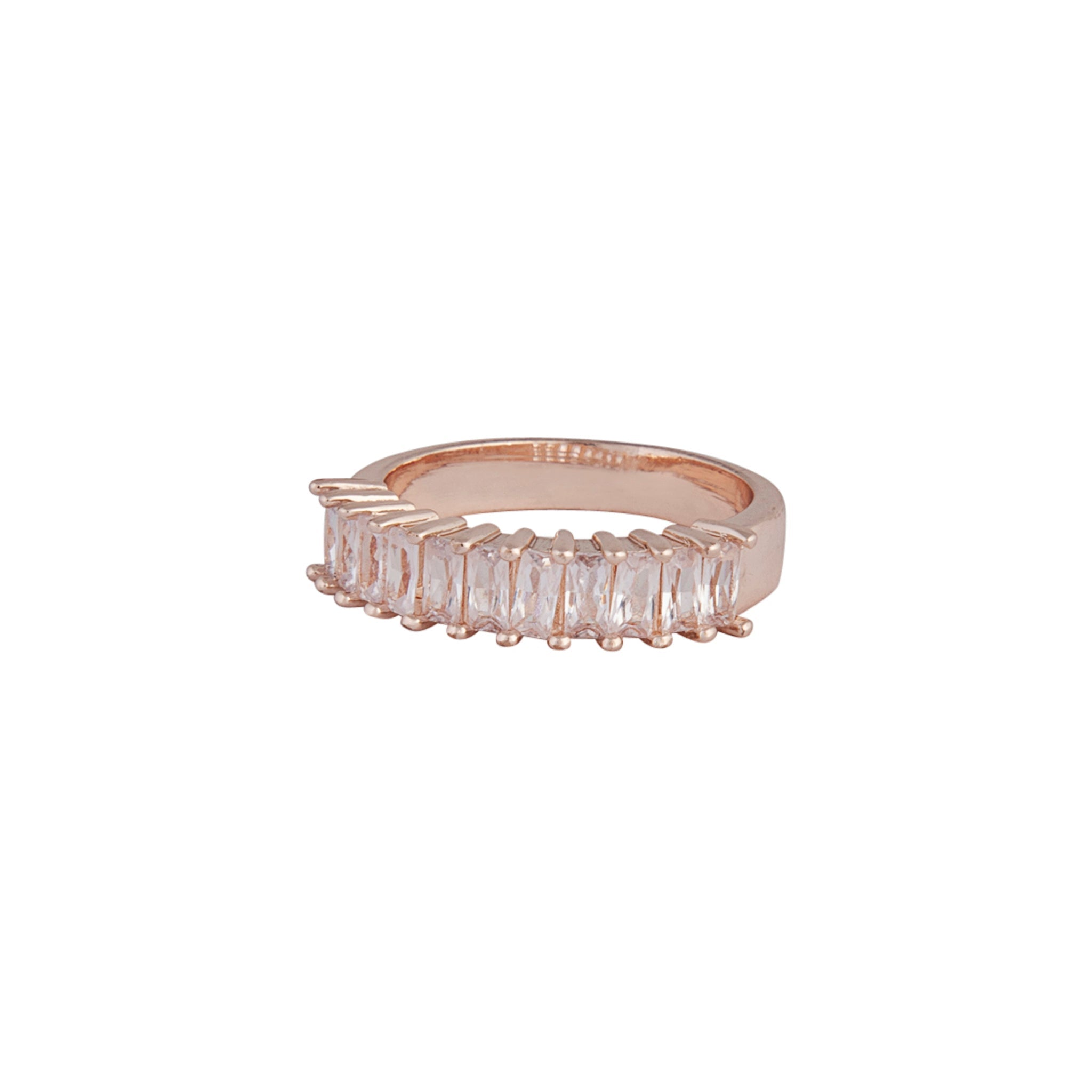 Rose Gold Cubic Zirconia Multi Baguette Band Ring