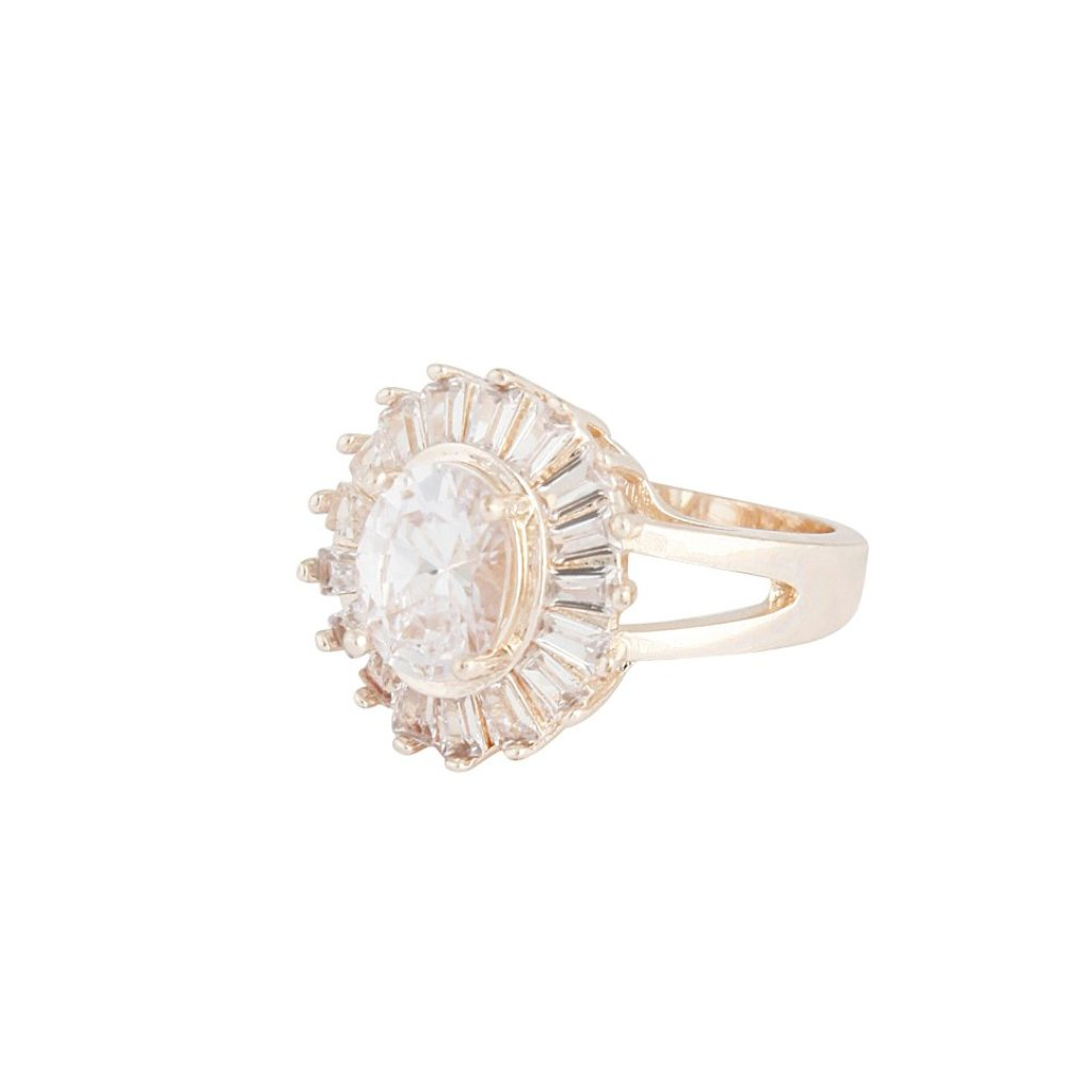 Rose Gold Cubic Zirconia Oval Surround Ring