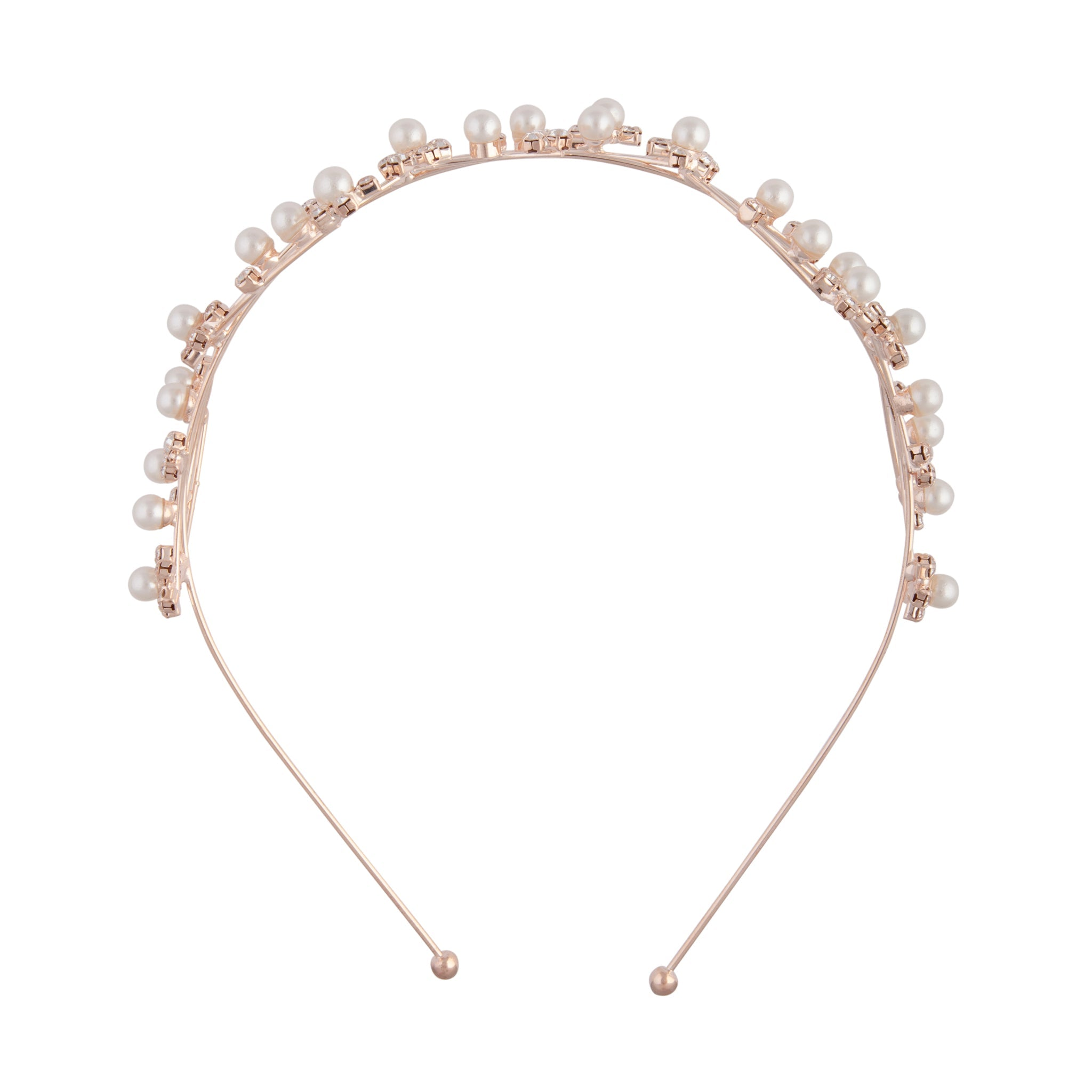 Rose Gold Wire Pearl Crystal Headband