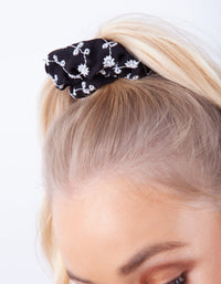 Floral Black Blue White Scrunchie 3 Pack - link has visual effect only