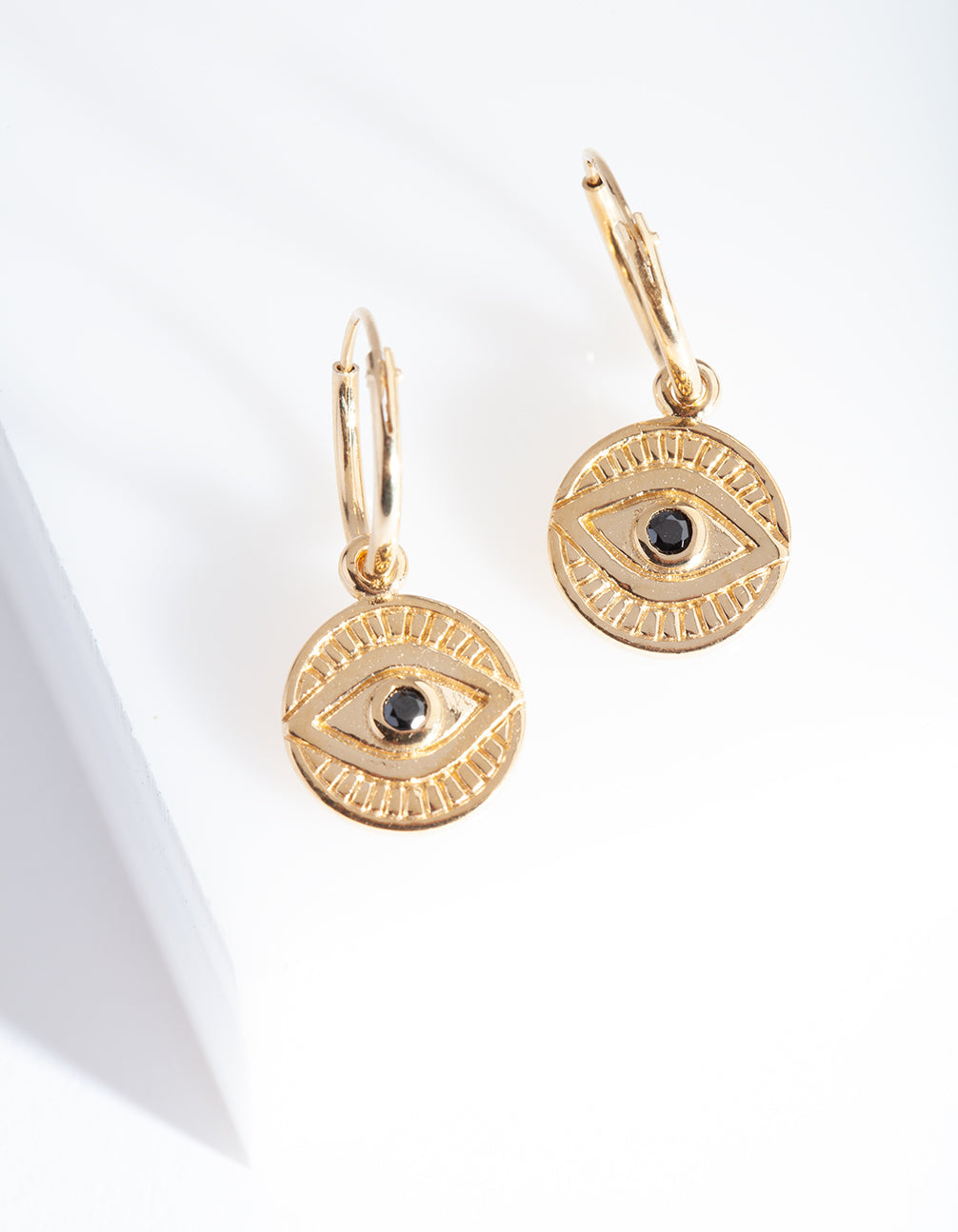 Gold Plated Sterling Silver Evil Eye Charm Hoop Earring