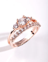 Rose Gold Cubic Zirconia Engagement Stack - link has visual effect only