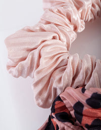 Blush Leopard Pleated Scrunchie Pack - link has visual effect only