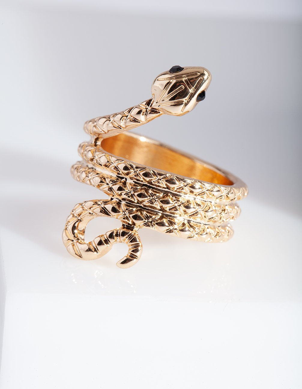 Gold Etched Snake Ring