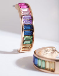 Gold Rainbow Gem Hoop Earring - link has visual effect only