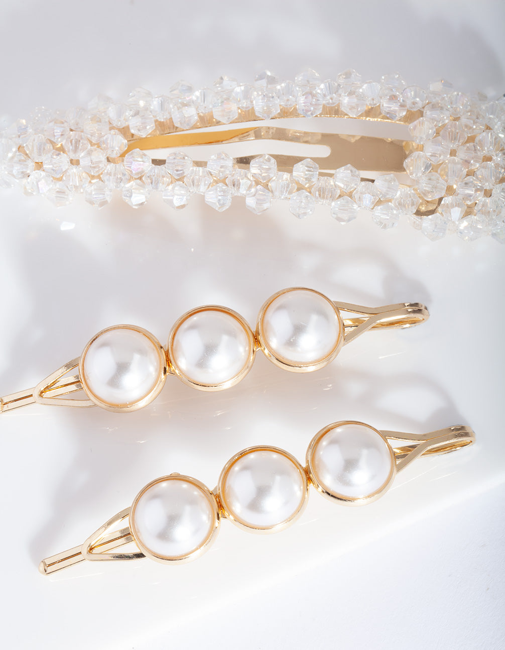 Gold Pearl Bead Hair Clip Pack
