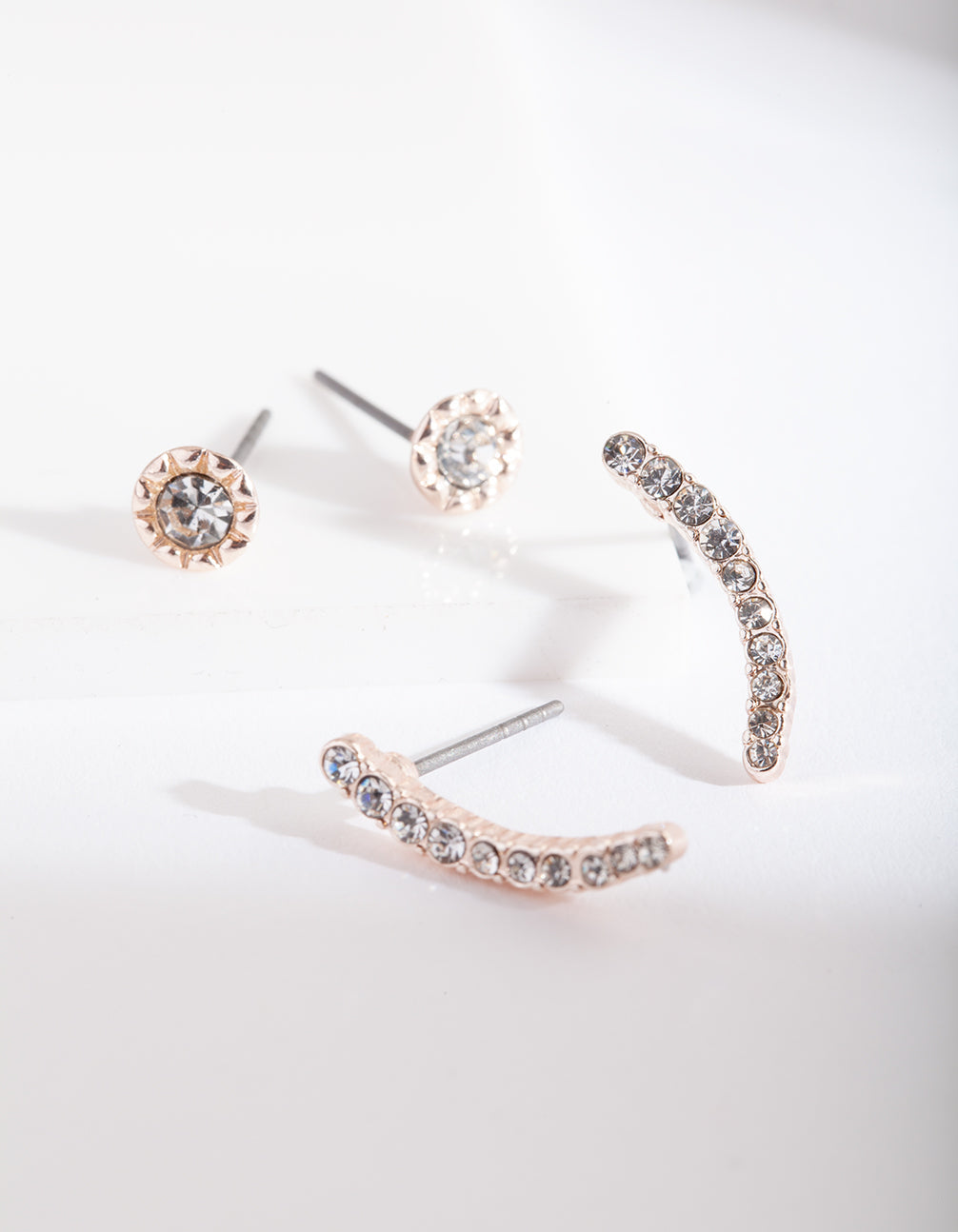 Rose Gold Diamante Stud Earring 2 Pack