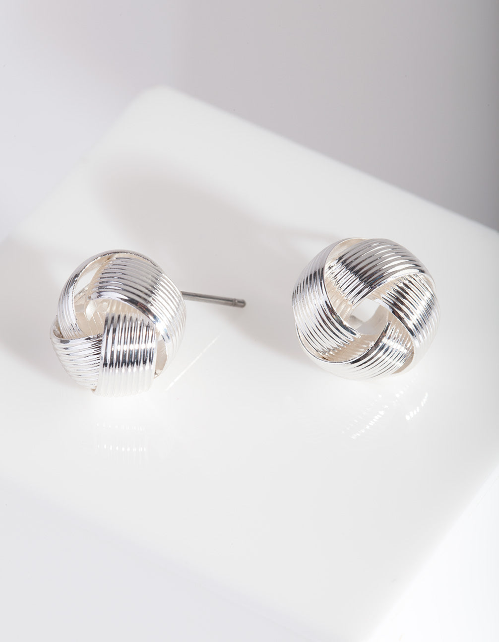 Silver Lined Knot Ball Earring
