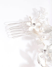 Silver Pearl Flower Hair Wrap - link has visual effect only