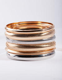Mixed Metal Textured Bracelet 6 Pack - link has visual effect only