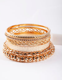 Gold Textured Bracelet 6 Pack - link has visual effect only