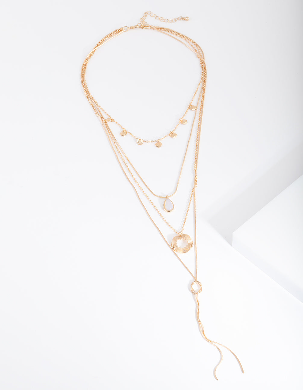 Gold Semi-Precious Multi Layer Necklace