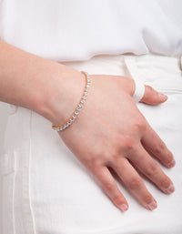 Gold Cubic Zirconia Tennis Bracelet - link has visual effect only