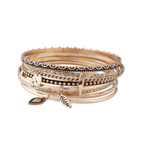 Gold Etched Coin Charm Bangle Pack - link has visual effect only