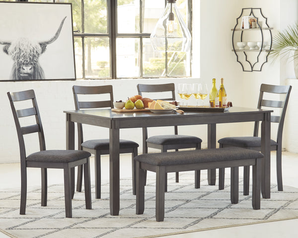 Bridson Dining Room Table and Chairs with Bench Set of 6
